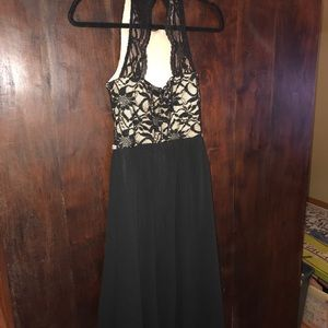 Black lace/silk high-low party dress
